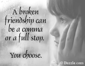 A broken friendship doesn't have to mean the end. And it doesn't mean your other friendships have to be affected by it, either.