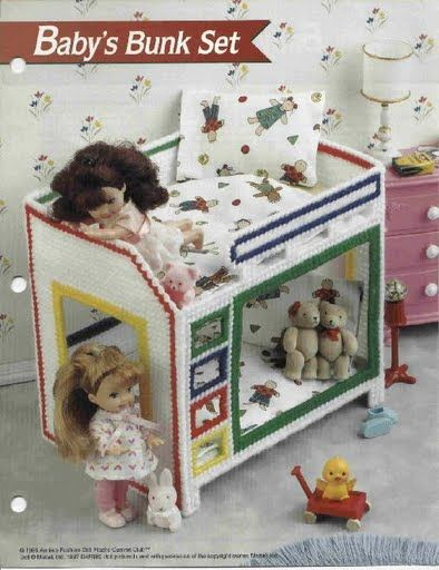 Free Copy of Pattern - Plastic Canvas Fashion Doll Furniture Baby's Bunk Set