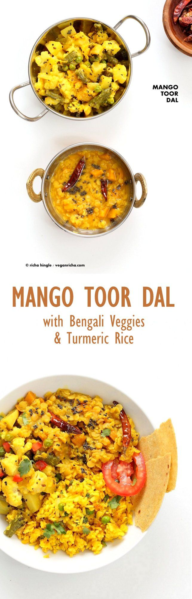 Indian Mango Dal. Toor Dal with unripe or ripe mango and 6 ingredients. Easy 1 pot soup or side. Use other lentils or veggies for variation. Vegan Indian Dhal Recipe Gluten-free #Soyfree with Bengali Veggies   VeganRicha.com