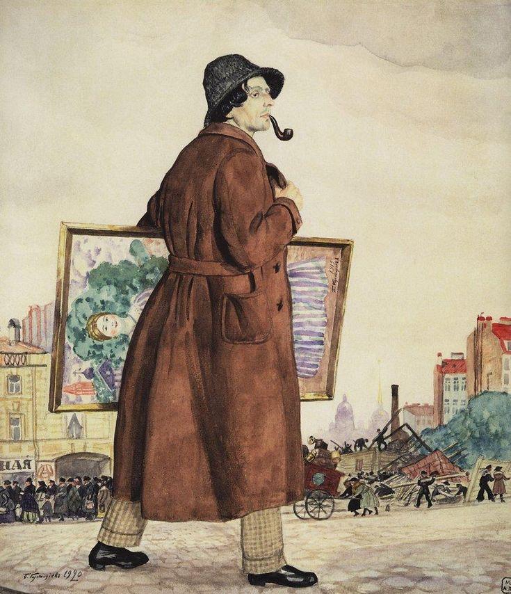 """Boris Kustodiev (Russia, 1878 – 1927)  """"Portrait of Isaak Brodsky"""", 1920"""