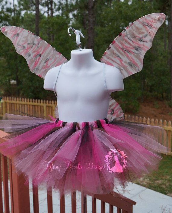 Pink Camo Fairy Tutu, Camo Princess Tutu,  Size 18m - girls 6. Camouflage Halloween tutu costume, camouflage wings. Only one available and ready to ship. TiffanyBrooksDesigns.com