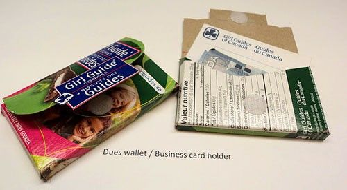 What a great way to recycle a Girl Guide Cookie box! Turn it into a dues wallet/business card holder.