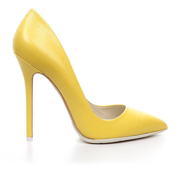Code: 1203A00 Heel height: 12cm www.mourtzi.com #yellow #pumps #heels #wow #shoes