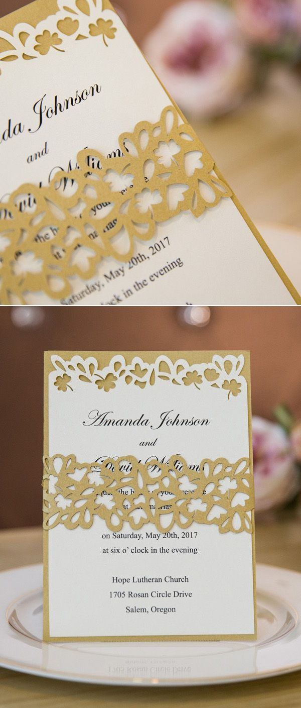 Unique Gold Glitter Layered Laser Cut Wedding