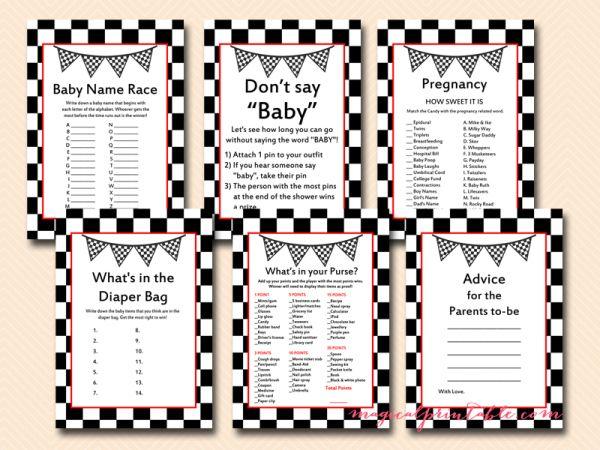 racing baby shower games, printable racing car baby shower game pack, tlc113