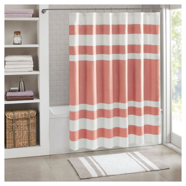Spa Waffle Shower Curtain - Coral (Pink) - (72x72)