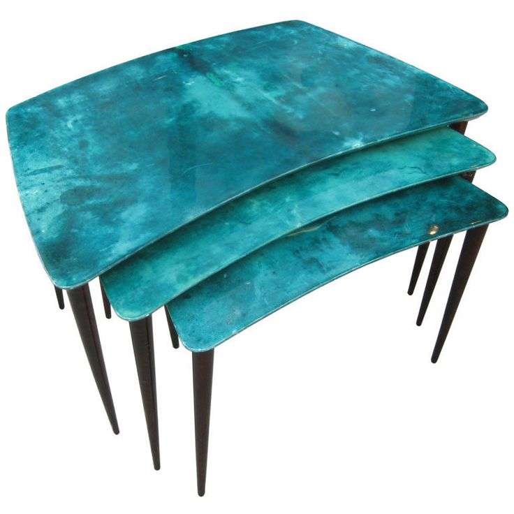 Alda Tura Nest of Tables    1960s  3 chic nest table with blue-green dyed parchment tops and brown parchment legs. Wonderfully shape angled lines.: Dyed Parchment, Blue Green Dyed, Parchment Legs, Chic Nests, Parchment Tops, Shape, Furniture Design, Nests Tables, Brown Parchment