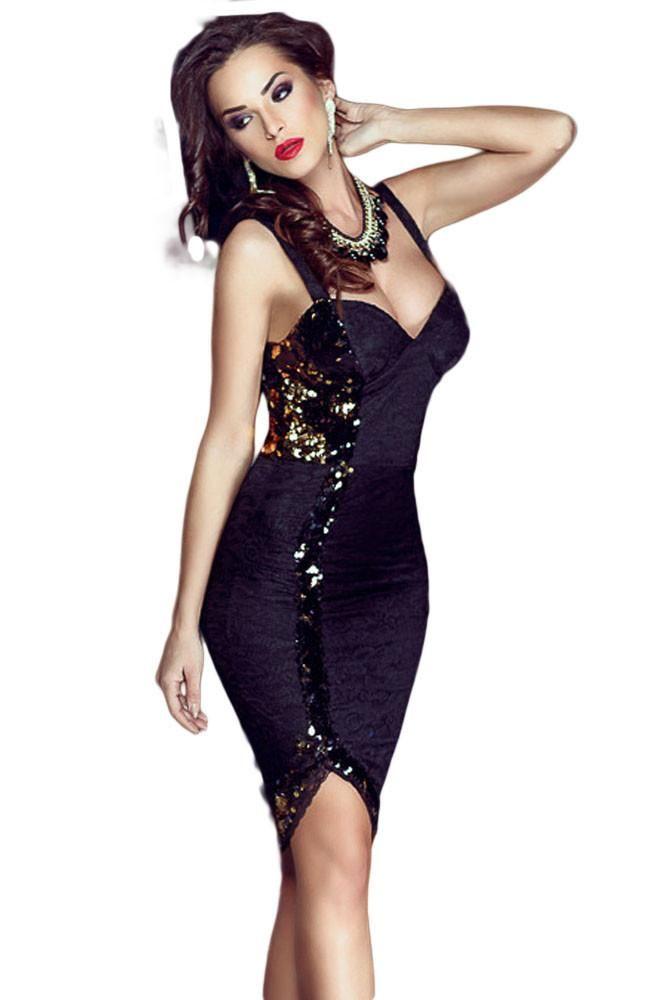 Midi Robes Noir Ornee De Sequins Sweetheart Robe Pas Cher www.modebuy.com @Modebuy #Modebuy #Noir #dress #me #robes