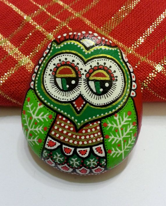 Hand Painted Pebble Owl