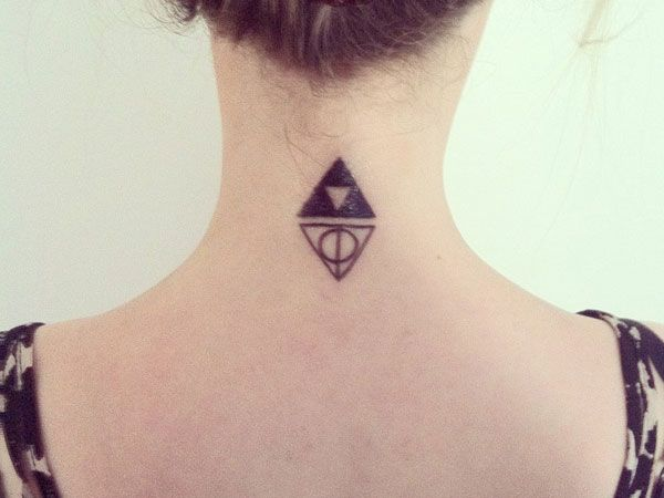 One pinner said: Deathly Hallows and Triforce tattoo. Harry Potter and Zelda combined. I'm thinking I'm going to do this with an arrow going through the center of these to connect them and represent The Hunger Games.