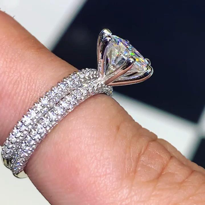 050cttw 200ct Band Comb Diamond Honey Micro Moissanite Pave Ring Aquamarine Engagement Ring Diamond Wedding Bands Peach Morganite Engagement Ring