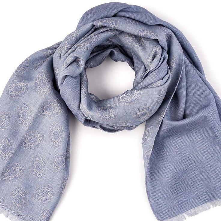 Wool Ornament Scarf in Silver - blue