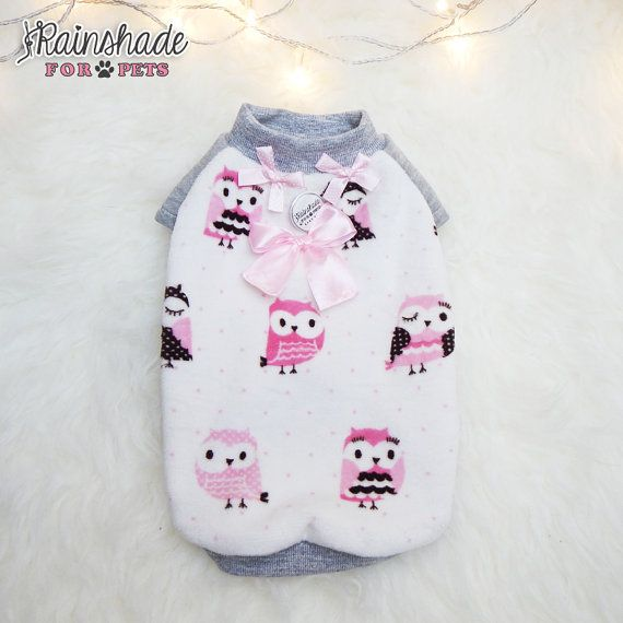 Tg. XS-S-M Felpina ciniglia stampata. Gufetti rosa. di Rainshade  #chenille #owl #owlet #rosa #ciniglia #dogclothes #clothes #dogs #littledogs #sweet #fluffy #pink