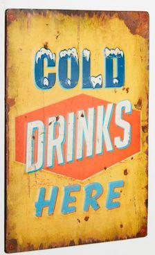 """GuGus Schild """"Cold drinks here"""" #Deko #Metallschild #Metall #Küche #Galaxus"""