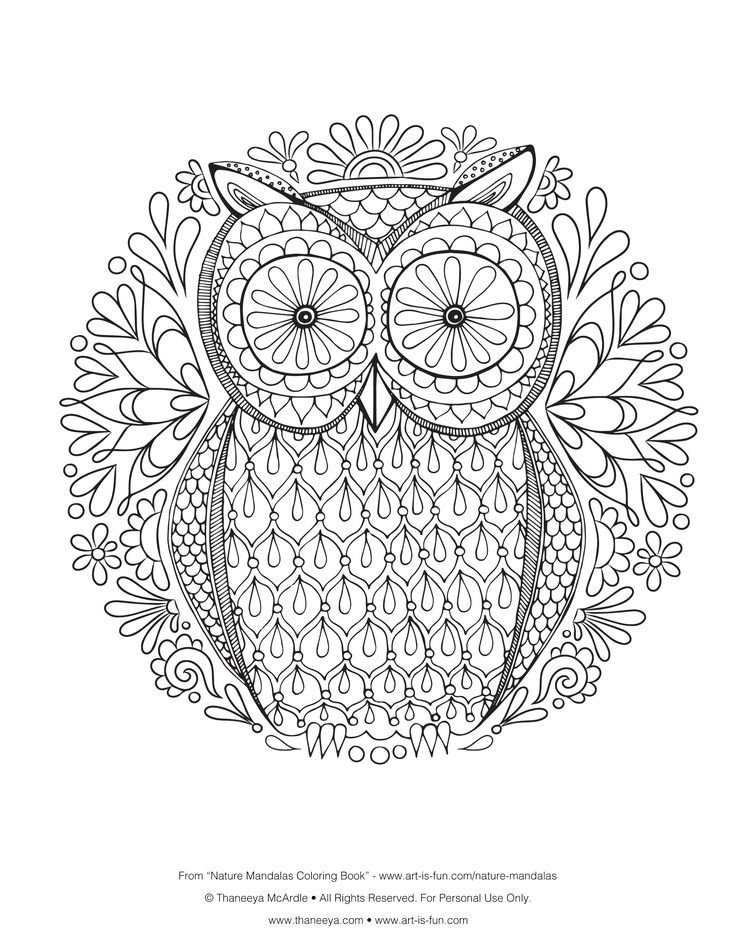 Free Owl Coloring Page By ThaneeyaThis Mandala Is From My Nature Mandalas Book