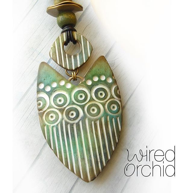 BEACH JEWELRY Patina Shield. Inks and pastels. Polymer clay pendant. www.wiredorchid.com #wiredorchid #jewelry #pendants #polymerclay #polymerclaynecklace