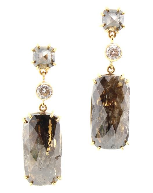 Pamela Huizenga 18k Fossilized Oak & Diamond Drop Earrings jyouLr1K