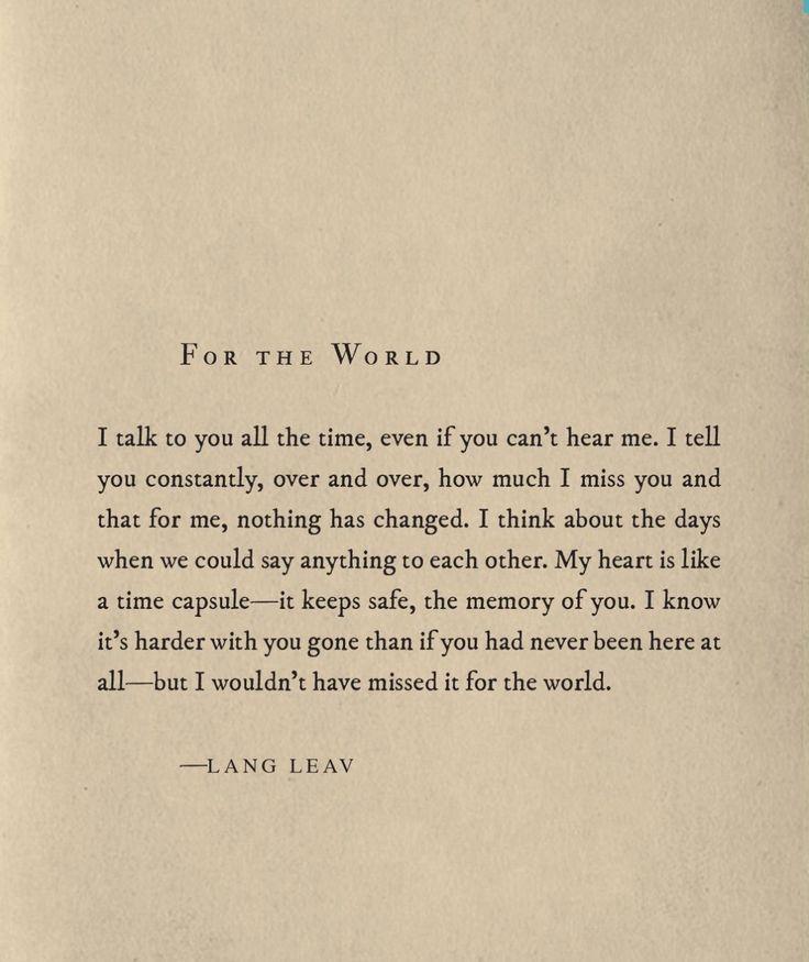 For the World ~ Lang Leav