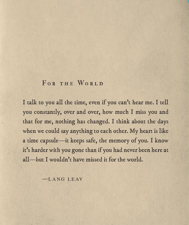 For the World ~ Lang Leav