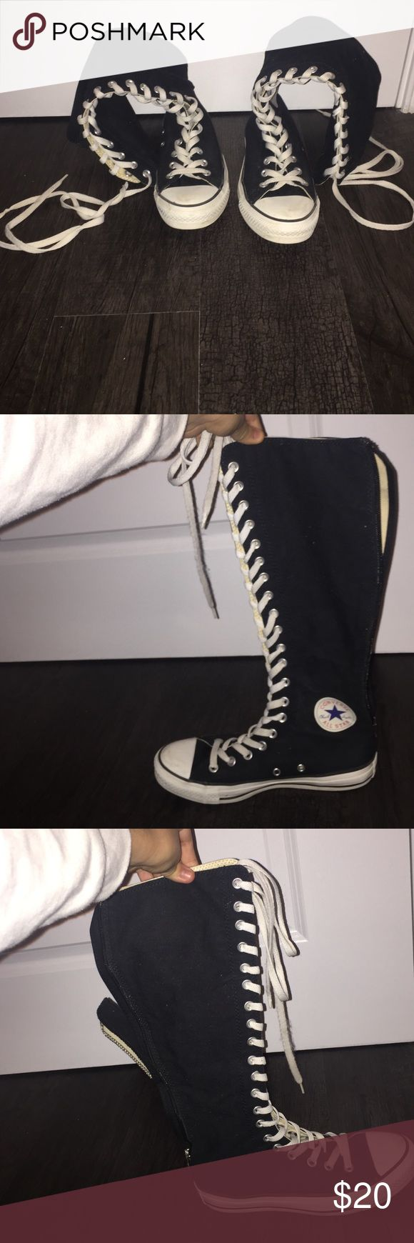 Knee high all star converse KNEE high converse with a zip up back Converse Shoes Lace Up Boots