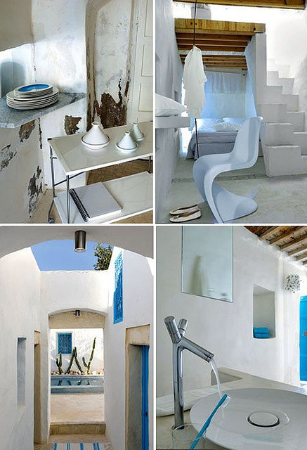 Love the colors, built-in nooks, and rounded plaster edges. dar bibine by the style files, via Flickr