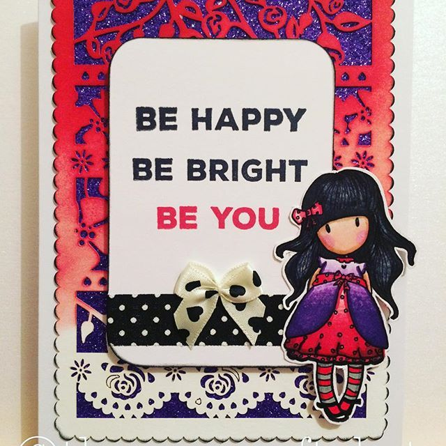 """Such an awesome """"Be You"""" Gorjuss card created by @theverycraftykat which was coloured with their Chameleon Pens.  #cute #handcut #handcoloured #santoro #red #purple #stamping #colouring #chameleonpens #xpressitblendingcard #alcoholmarkers #card #cardmaking #handmade #original #glitter #gorjuss #archivalink"""
