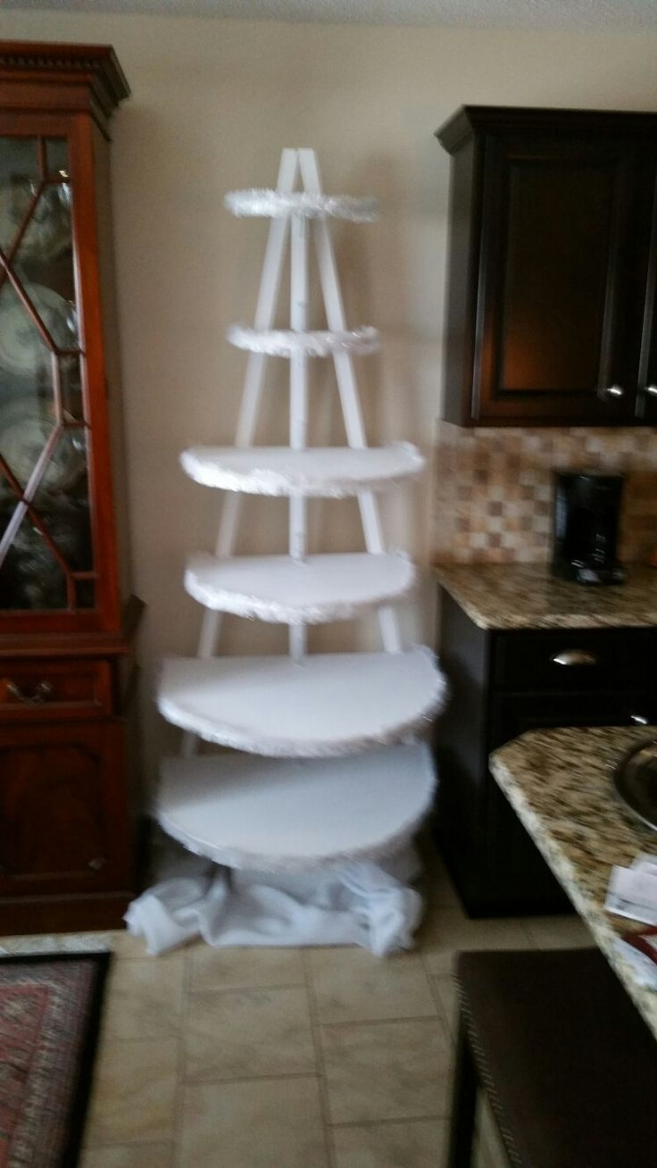 I modified from other pins about homemade Christmas Tree to display our North Pole Village houses. I wanted to place it in a small area between china buffet and kitchen cabinets and made each shelf in a semi circle so it would fit flat against the wall. I added white garland to each shelf to cover the shelf edges. The rear supports are attached so they give the appearance of a tree.