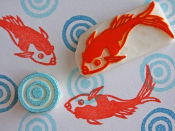Hand Carved Japanese Kingyo Stamp Set Goldfish by StampsbySachi, $23.00