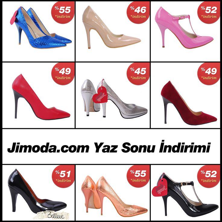 Jimoda.com Yaz Sonu Ayakkabı İndirimi. Tüm Stilettolar, Dolgu Topuklular ve Platform Ayakkabı fiyatlarında %67 'ye varan indirimler. Ayrıntılı bilgi için : Jimoda.com #İndirim #Yazsonuindirimi #Kapıdaödeme #Ayakkabı #Stiletto #Platform #Dolgutopuk #Giyim #Moda #Trend #Kampanya