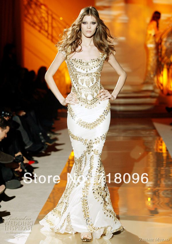 2013 Zuhair Murad Couture Mermaid Style Ivory Chiffon Cap Sleeve Golden Beads Celebrity Floor Length Evening Dresses Prom Gown US $899.99