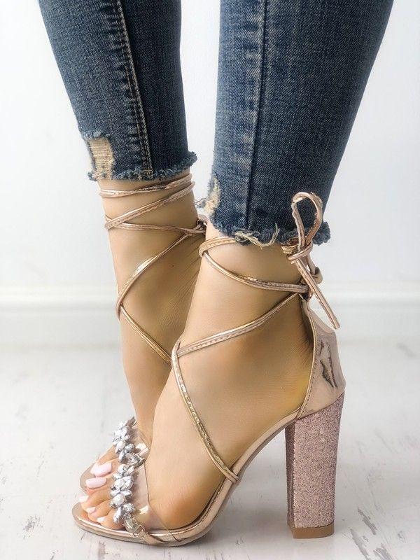 76e17d7ce68 Shiny Transparent Strappy Chunky Heeled Sandals
