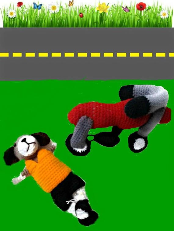 Soft dog toy Animal funny toy Motor bike Colorful crochet