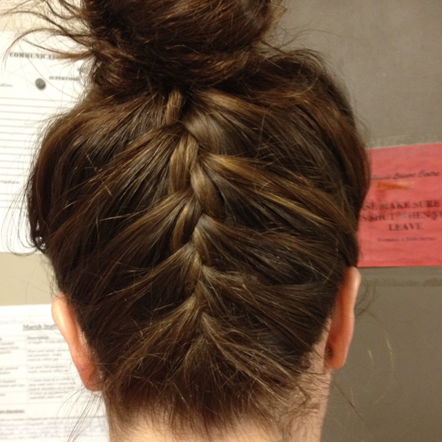 typical ballerina bun in the front, surprise in the back!