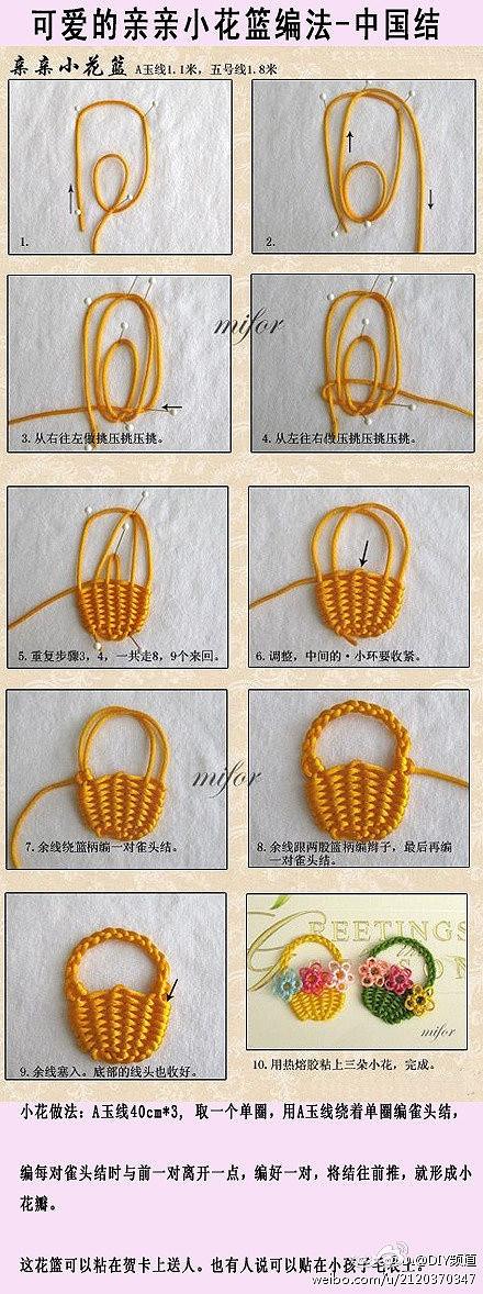De met de hand gemaakte DIY Chinese knopen - kleine bloem mand vlechten