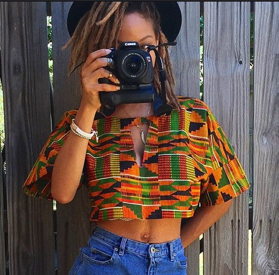 Custom African fabric crop top with peep chest Kente by ZamGhuden