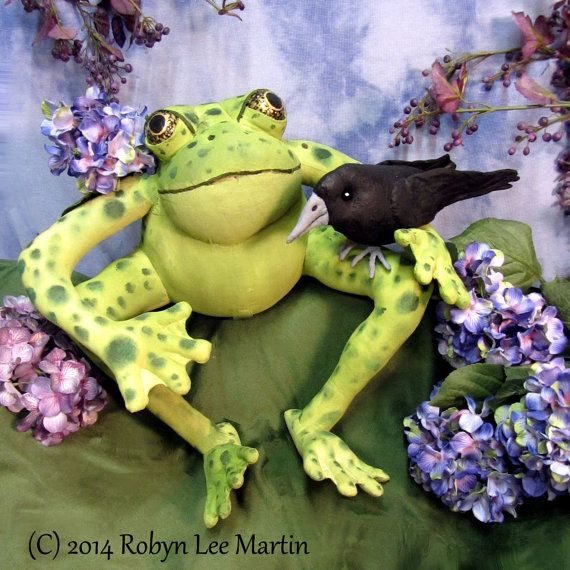 Soft Sculpture Frog and Crow  by MotherlodeToad on Etsy, $75.00