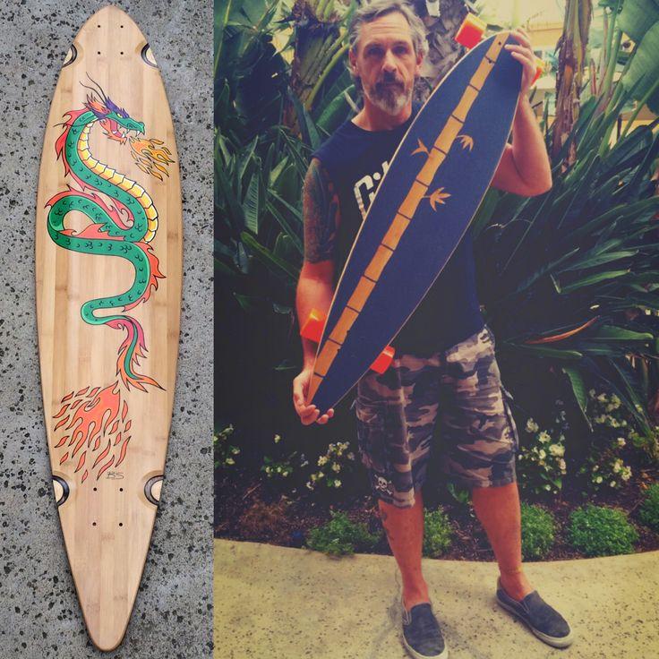 I #painted this #longboard w/ @poscagallery #paintpens & #custom #griptape for @rockyandersonexplorer  #Bee #art #artist #artwork #creative #handmade #paint #draw #diy #dragon #fire #bamboo #GullwingTrucks #sidewinder #OJwheels #skateboard #skate #cruise #carve   @ojwheels @gullwingtruckco