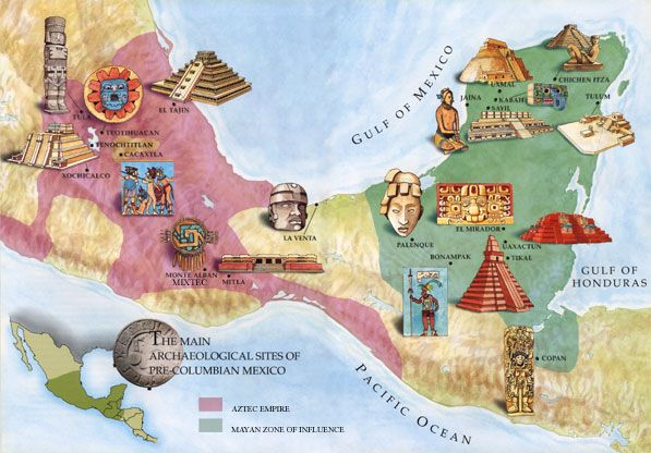 This map of the Mesoamerican region shows the locations of the