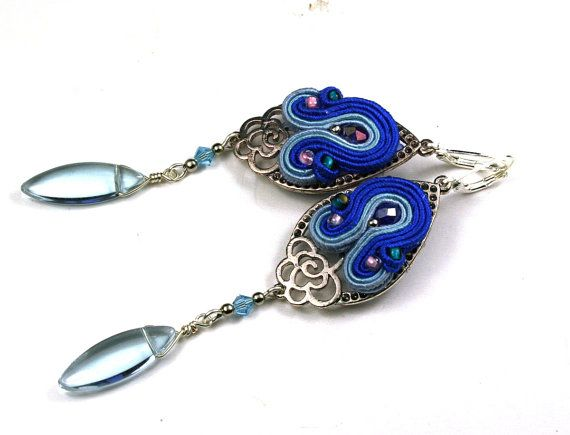 Soutache Earrings Blue Earrings High Fashion by SoutacheOOAK