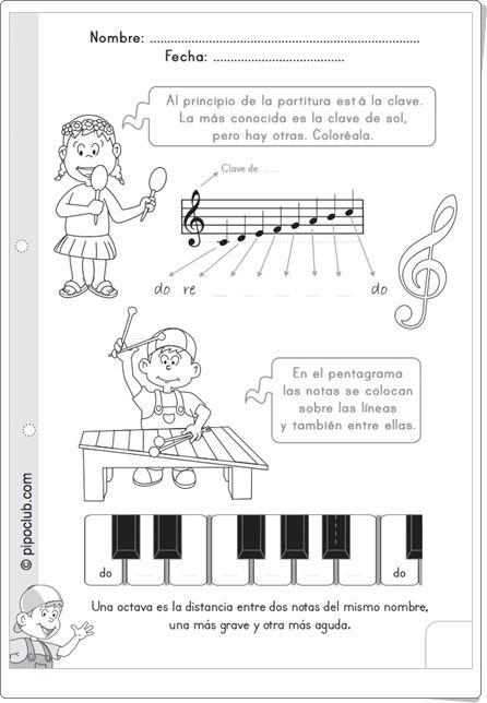 """""""Las notas y el pentagrama de Pipo"""" (Ficha de Música de Primaria)"""