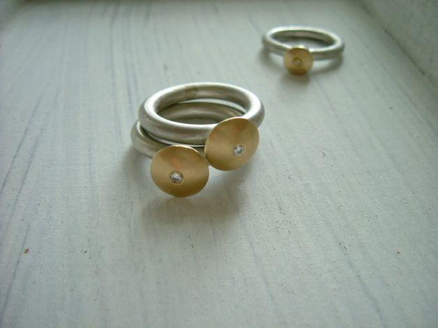 Anelli oro con Diamante e fascia in argento