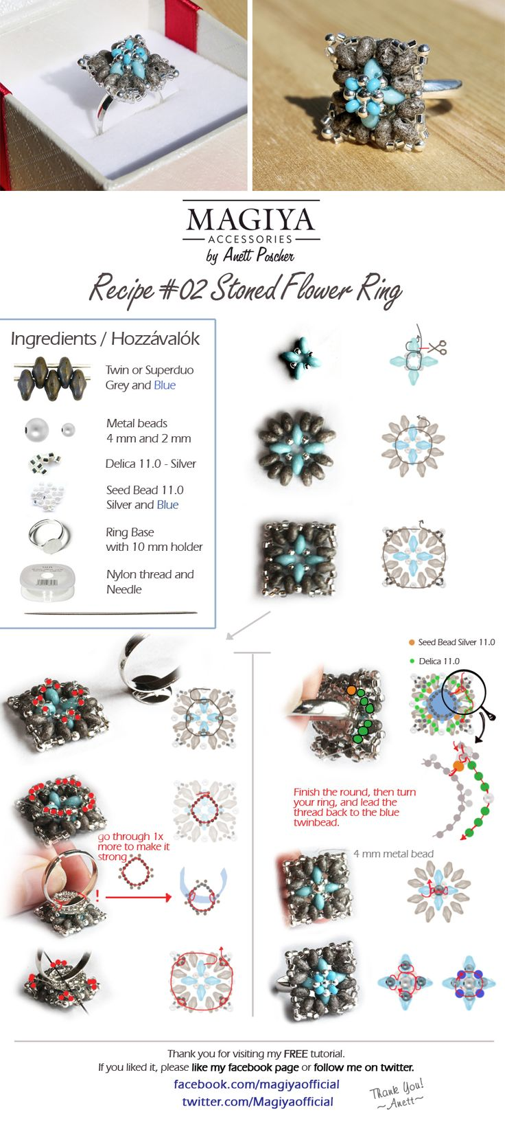 FREE ring tutorial with 2-hole beads ~ Seed Bead Tutorials