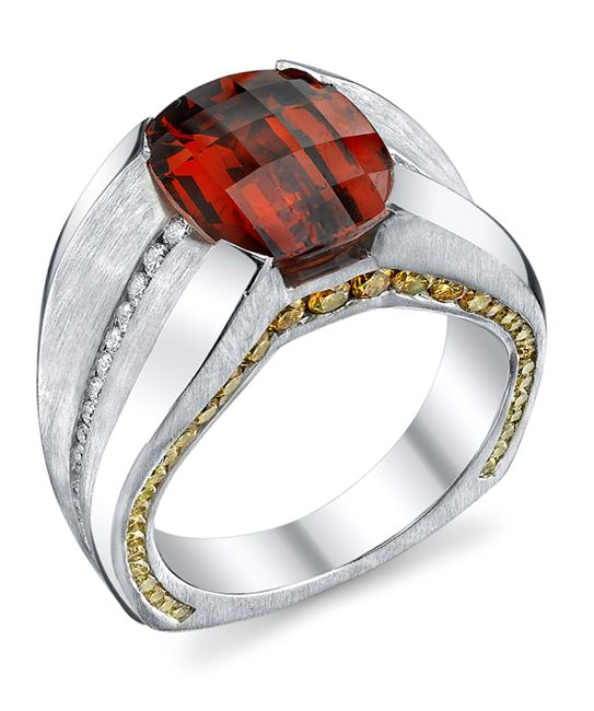 Elusive Spessartite Garnet Gents Ring - Mark Schneider Design Platinum gents ring with a sandblast finish, featuring a 13.81ct spessartite garnet, accented with 1.58ctw of yellow diamonds, and 0.62ctw of white diamonds. - $48,000