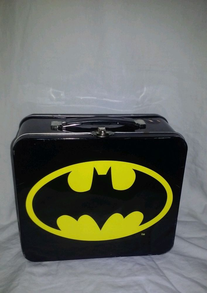 TM & DC Comics Collectible Batman Lunch Box Metal Tin Black & Yellow