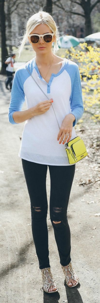 Baseball Tee Outfit Idea by Barefoot Blonde