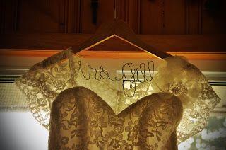"""Mrs"" hanger for wedding dress photos"