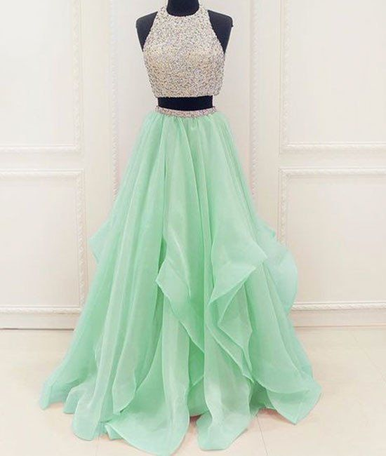 Long Prom Dress Stunning unique two pieces sequin mint green long prom dress, evening dress For Senior Teens Prom