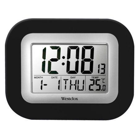 Westclox Lcd Wall Alarm Clock Black Digital Wall Wall Clock With Date Clock