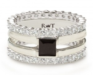 """14K White Gold """"AIR"""" 1/2ct Black Diamond Ring flanked with two Diamond Bands.    Engagement rings, Gay weddings, Same-sex weddings, Marriage equality, Gay engagement rings, Lesbian engagement rings"""