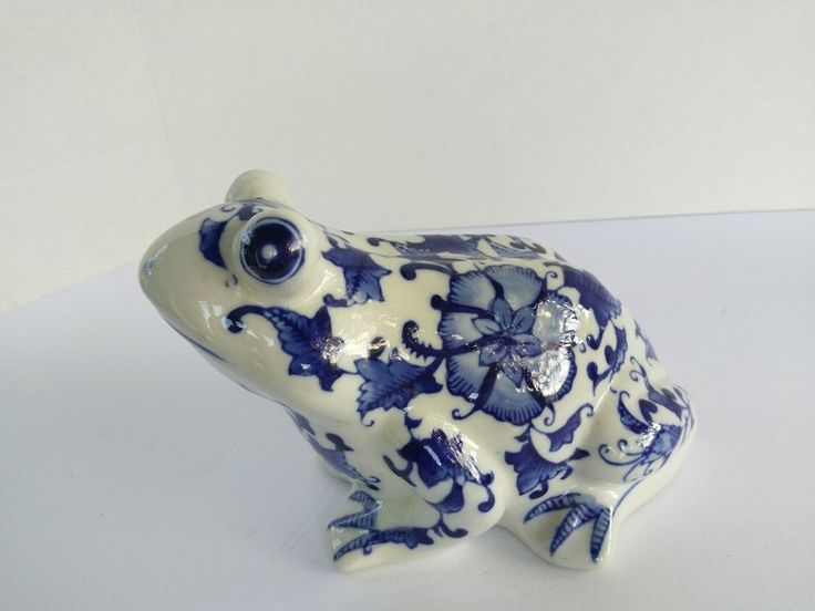 Large Ceramic Cobalt Blue Delft Style Frog Animal Bird